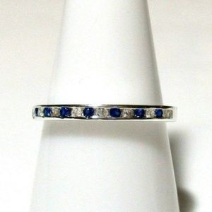 Ring Size 8 Simulated Diamond Sapphire Band 526